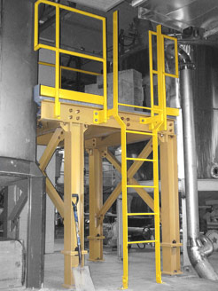 Industrial walkway fabrication with guardrails, staircases and ladders